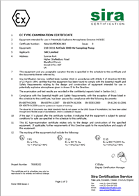 Sample ATEX Certificate. Many SKC products are ATEX certified for use in Hazardous Areas.