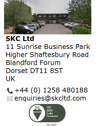 SKC Ltd Contact Details, including address, phone number and email, and a picture of the offices.
