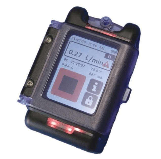 The AirChek TOUCH has highly visible alarm LEDs