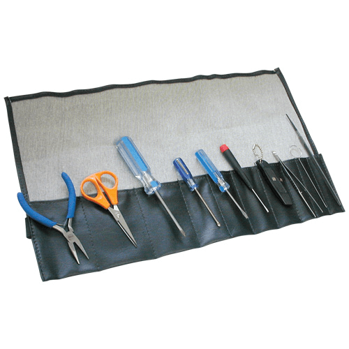 376-01-01 Tool Kit, includes scissors, pliers, file, 2 slotted screwdrivers, 2, crosshead screwdrivers, forceps and charcoal pick